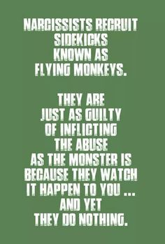 Since you are both narcs, I guess you each other's flying monkey...
