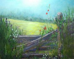 Landscape Original Oil Painting Countryside by JellyBeanJump