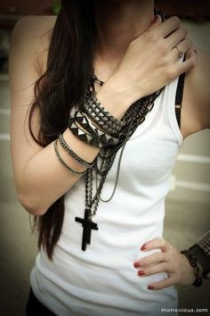 heavy black jewelry on white tank. I actually like this, even though I don't like white shirts.
