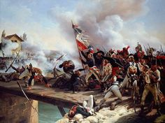 La Bataille du Pont d'Arcole --- Napoleon Bonaparte leading his troops over the bridge of Arcole on 15 November as part of the Italian campaigns of the French Revolutionary Wars. Painted in 1826 by Horace Vernet. History Online, World History, Military Art, Military History, Military Uniforms, Italian Campaign, French Revolution, American Revolution, Napoleonic Wars