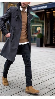 Comfy winter fashion outfits for men in 2019 71 Winter Fashion Outfits, Suit Fashion, Fashion Photo, Male Winter Fashion, Fashion 60s, Fashion Trends, Fashion Menswear, Style Fashion, Womens Fashion