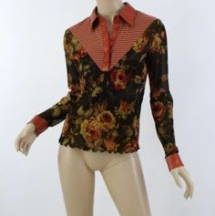 ANAC by Kimi Fabulous Floral & Striped Stretch Mesh Leather Trim Collared Top S