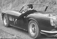 Alain Delon in his Ferrari 1964. This car have just been sold in Paris 14 200 000 € It is the most expensive car ever. ph Georges Dambier