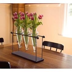 DANYA B-16 in. Triple Glass Amphora Vases on Iron Stand with Finials - Clear Glass Amber Glass, Clear Glass, Christmas Centerpieces, Floral Centerpieces, Recycled Glass, Glass Table, Simple Christmas, Flower Vases, Flower Arrangements