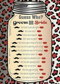 Bridal shower game, groom or bride game