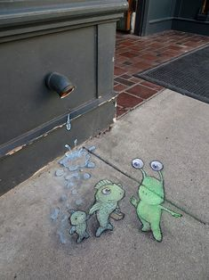 Sluggo gives some directions on Take Your Tadpole to Work Day. David Zinn, 2014. The Peaceable Kingdom, Ann Arbor, Michigan