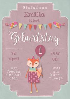 Süße Einladungskarte zum Geburtstag in pastelligem Vintage-Look für Mädchen