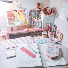 Set up your desk to make it boost your productivity~🦄🦄🦄 . Study Room Decor, Study Rooms, Study Space, Study Desk, Desk Space, Study Corner, Cute Desk, Kawaii Room, Study Inspiration