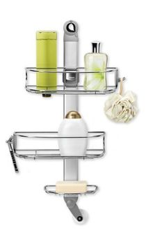 simplehuman Adjustable Shower Caddy, Stainless Steel by simplehuman, http://www.amazon.com/dp/B004NRP2SG/ref=cm_sw_r_pi_dp_Zk7.rb0KYY511