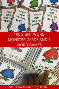 Students love learning their sight words with these cute monster task cards. They also love the I Have Who Has word games! #sightwords#wordgames#halloweenactivities#firstgradeactivities#games#sightwordactivities
