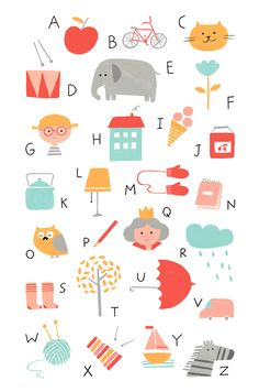 alphabet, cute, kids, design, drawing, illustration, graphic, ABC