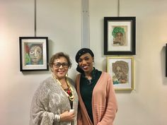 "Artists, Veronica Spruill and Gwen Barrington Jackson, pictured with Ms. Barrington Jackson's artwork. Gwen's mixed media pieces are being displayed at  ""Lift Every Voice"", the 26th annual exhibition for Art in the Atrium. (Morristown, NJ) #veronicaSpruill"