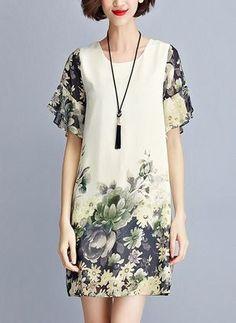 Винтажное платье из щифона длины выше колена с цветочным принтом с средними рукавами (1955110991)