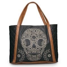 901b3ab352e9 Loungefly Black Brown Quilted Skull Embroidery Tote Bag Purse Shopper Beach  Bag  Loungefly