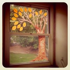 season tree: tree with branches painted on a window--children can decorate the tree seasonally (all season long!) with relevant decorations, preferably translucent