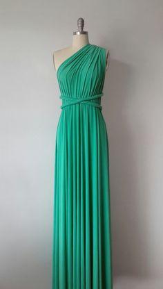 Jade Green Floor Length Ball Gown Infinity Dress Convertible Formal Multiway Wrap Dress Bridesmaid Evening Dress