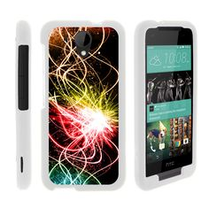 HTC Desire 520 Case SNAP SHELL White 3 IN 1- Slim Hard Fitted Case - Colorful Light Show