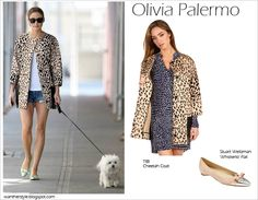 WHAT SHE WORE: Olivia Palermo in Tibi Cheetah coat and Stuart Weitzman Whisherlo Flats ~ I want her style - What celebrities wore and where to buy it. Celebrity Style