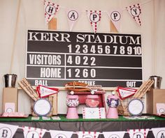 baseball girly birthday party-love the vintage pink tin this
