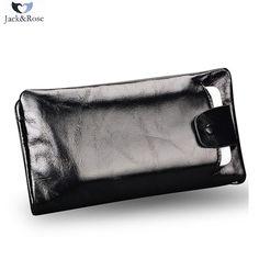 2016 Nuevos hombres diseñador de larga cartera de cuero genuino masculino embrague de Lujo marca hombres carteras Bolsos del teléfono monedero con cremallera negro