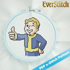 Vault Boy Fallout Video Game Cross Stitch Digital Pattern