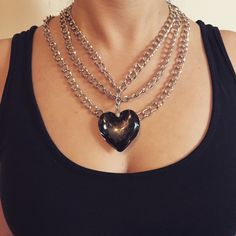 A personal favorite from my Etsy shop https://www.etsy.com/listing/271657234/black-heart-bib-necklace