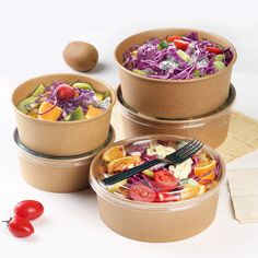 Online Shop Food Grade Disposable Kraft Paper Salad Packing Box Takeout Food Salad Box Breakfast Fast Food Tray With Lid Take-away Tray Salad Packaging, Takeaway Packaging, Food Packaging Design, Food Packing Boxes, Comida Delivery, Disposable Food Containers, Salad Shop, Catering, Fast Food Breakfast