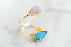 Double Duo Druzy Ring