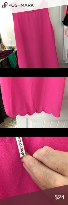 Scalloped dress NWT // hot pink Dresses