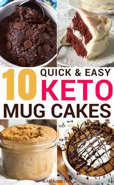 These keto mug cakes are absolutely delicious – you have to try them if you're on a low carb or keto diet! These keto mug cake recipes inc. Desserts Keto, Keto Friendly Desserts, Keto Snacks, Dessert Recipes, Breakfast Recipes, Easy Keto Dessert, Easy Mug Cake, Cake Mug, Keto Mug Cake