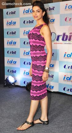 Deepika Padukone in a plum Topshop Dress