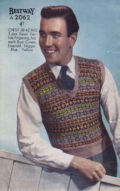 vintage knitting pattern for mens fair isle tank top 1940s