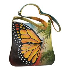 Shop for Handpainted Butterfly Shoulder Bag - Leather Crossbody Strap Lined Purse - Multi - One Size. Get free delivery On EVERYTHING* Overstock - Your Online Handbags Outlet Store! Crossbody Shoulder Bag, Leather Crossbody, Leather Shoulder Bag, Leather Bag, Crossbody Bag, Shoulder Bags, Gucci Handbags, Purses And Handbags, Leather Handbags