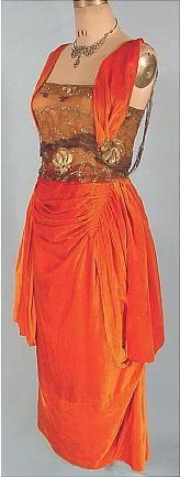 c. 1919 HARRY COLLINS, New York Bright Tangerine Silk Velvet Evening Gown. Sideway