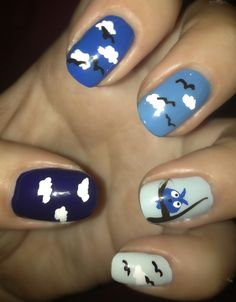Blue owl nail art (inspired by Robin Moses)