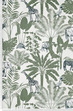 Blanc Amazonia Singe Tropical Palmiers Exotique Jungle Peint Vert Marine