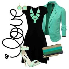 Teal blazer with black dress!