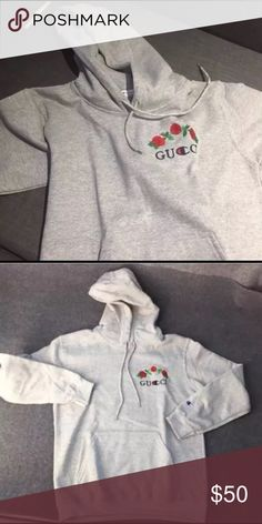 Gucci x Champion hoodie Tag says L but fits like M in men's sizes. New without tags. Price is firm Champion Shirts Sweatshirts & Hoodies