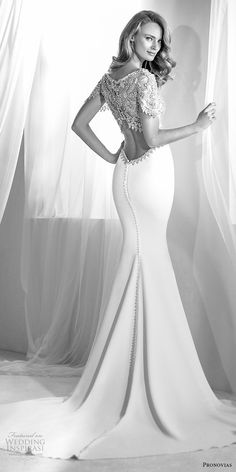 atelier pronovias 2018 bridal short sleeves jewel neck heavily embellished bodice glamorous elegant fit and flare wedding dress embellished back medium train (2) bv -- Atelier Pronovias 2018 Wedding Dresses