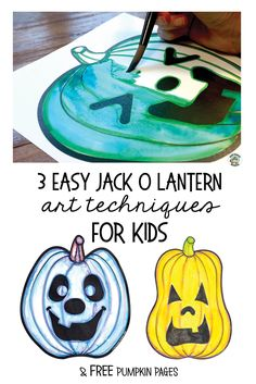3 easy art techniques for adding color to your jack-o-lantern drawing. A fun Halloween art project f Halloween Art Projects, Fall Art Projects, Halloween Activities For Kids, Halloween Drawings, Art Activities For Kids, Projects For Kids, Art Drawings For Kids, Drawing For Kids, Art For Kids