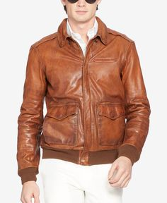 7eb17c00bbb99 Polo Ralph Lauren Farrington Bomber Leather Jacket Cargo Jacket Mens