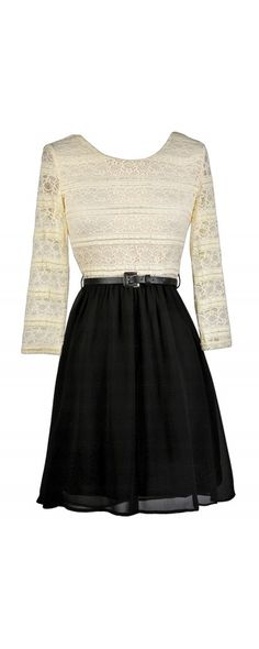 Lily Boutique Kindred Spirits Belted Black and Beige Lace Dress, $35 Black and Beige Lace A-Line Dress