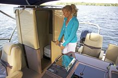 Awesome option feature alert! The port-a-potty that rises at the touch of a button in about 20 seconds in all the all new Escape Pontoon. #pontoon #boating
