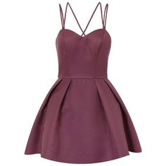 **Chi Chi London Petite Strappy Mini Dress (2,155 MXN) ❤ liked on Polyvore featuring dresses, vestidos, purple, petite, strappy dress, purple dress, purple mini dress, mini dress and petite dresses