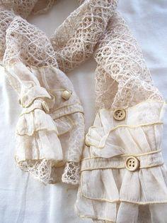 Ecru cotton lace scarf