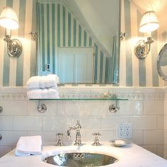 Subway tile and trim Waterworks. Hand painted stripes.