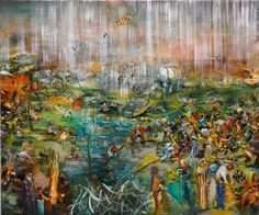 Ali Banisadr. Title: Fishing for Souls (2009), Oil on Linen, 30x36 inches