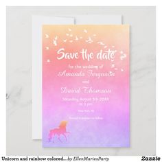 Unicorn and rainbow colored Save the Date