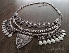 Tribal necklace antique silver plated . Ethnic necklace old gold plated. Ottoman necklace. Silver statement necklace. Bib necklace