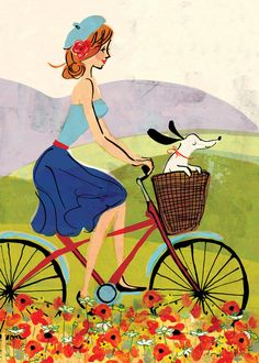 Travel in Style by Louise Cunningham. King & McGaw has an extensive collection of art prints by established and emerging artists, which are all framed by hand in the UK. Bicycle Painting, Bicycle Art, Watercolor Cards, Watercolor Paintings, Illustrations, Illustration Art, Oil Painting App, Gif Animé, Freelance Illustrator